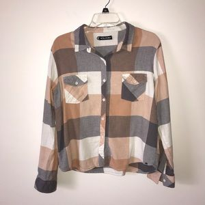 Volcom Flannel Button Down Top Size Large
